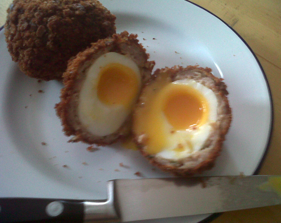 how to make scotch eggs with runny yolk
