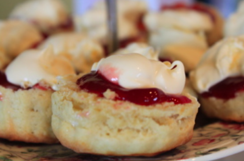 Buttermilk scones with raspberry jam and Cornish clotted cream!