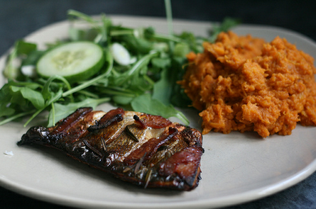 Baked Bacon and Rosemary Seabass with Sweet Potato Mash - Peach Trees ...