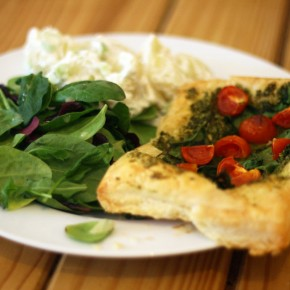 Pesto, Spinach and Tomato Tart