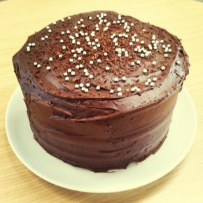 Triple layer chocolatey chocolate cake