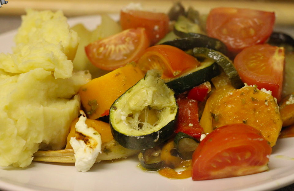 Pesto and goats cheese roasted vegetables